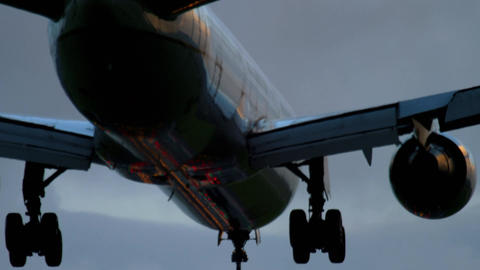 Airplane landing at the early morning Footage