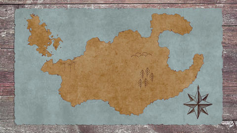 A Blank Treasure Map on a Wooden Table Archivo