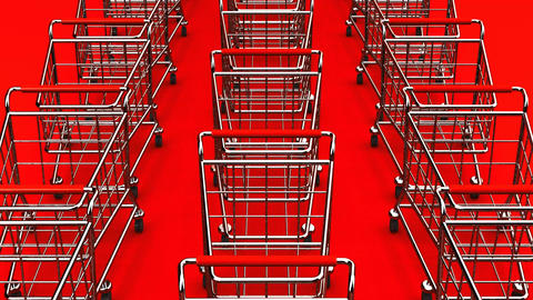 Many Shopping Carts On Red Background Animation