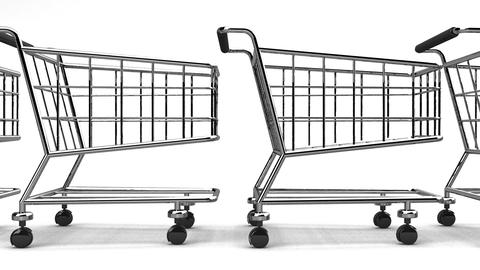 Many Shopping Carts On White Background Animation