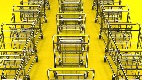 Many Shopping Carts On Yellow Background Animation