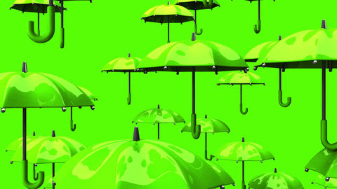 Rising Green Umbrellas On Green Background Animation