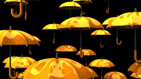 Rising Orange Umbrellas On Black Background Animation