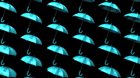 Pale Blue Umbrellas On Black Background Animation