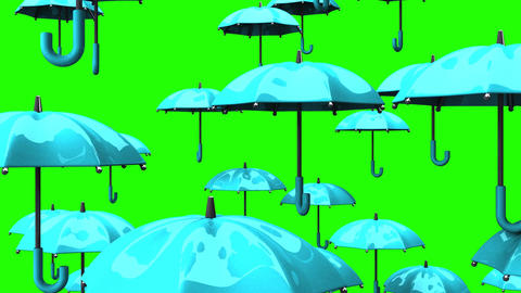Rising Pale Blue Umbrellas On Green Chroma Key Animation