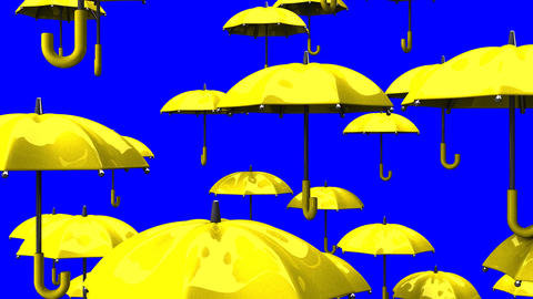 Rising Yellow Umbrellas On Blue Chroma Key Animation