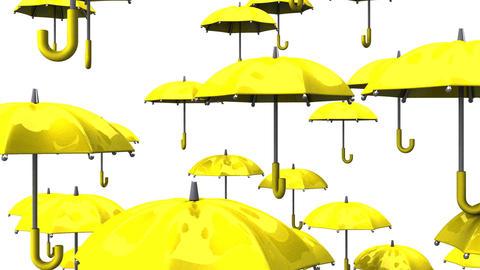 Rising Yellow Umbrellas On White Background Animation