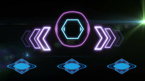 animation - HUD Element in Hologram Style with animated light Animation