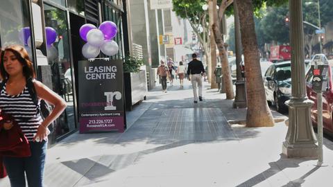 Time Lapse Shot Of Pedestrians On Sidewalk In Los Angeles Footage
