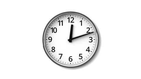 Clock On White Wall, Stock Animation