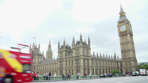 House Of Parliament From Westminster Bridge With Tourists Live Action