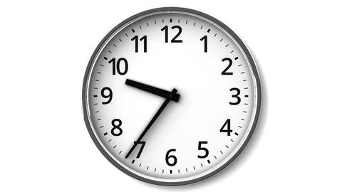 Reverse Rotation Clock On White Wall Animation