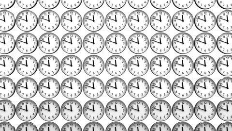 Reverse Clocks On White Background Animation