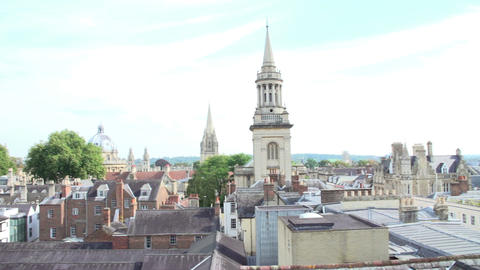 Panoramic View Of Oxford City Skyline And Rooftops Live Action