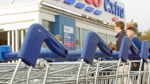 Shopping Trolleys Outside Tesco Supermarket Footage