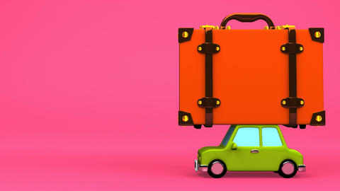 Big Travel Luggage And Car On Pink Text Space Animation