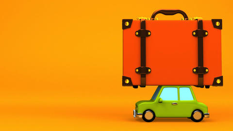 Big Travel Luggage And Car On Yellow Text Space Animación