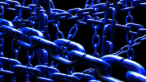 Blue Chains Abstract On Black Background Animation