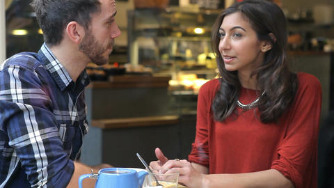 Couple On Date In Café Talking Together Stock Video Footage