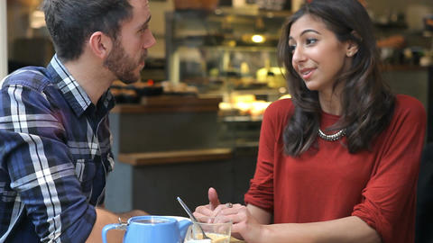 Couple On Date In Café Talking Together Footage