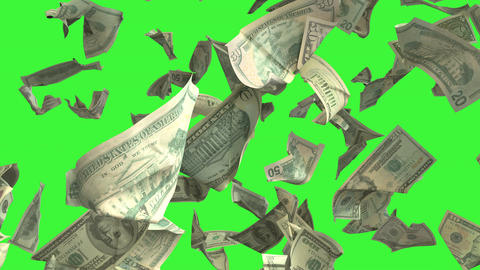 Falling Dollar money in slow motion 4K Loopable with matte mask Animation