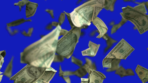 Falling Dollar money in slow motion 4K Loopable with matte mask Filmmaterial