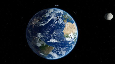 Earth zoom out to space. Satellites and moon orbiting around the Earth. 4K Animation