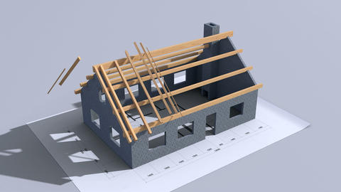 Home construction. Time-lapse 3d animation. Full HD Animation