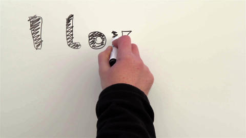 Man writing with a marker on a whiteboard, feelings for the person you I LOVE YO Footage