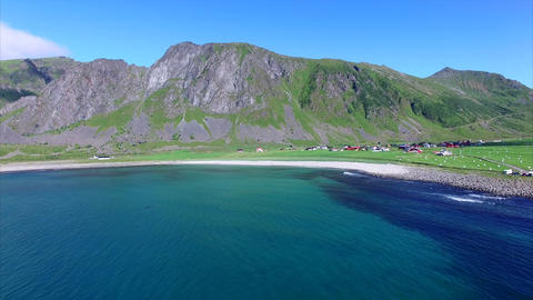Picturesque village on Lofoten islands, Norway Footage