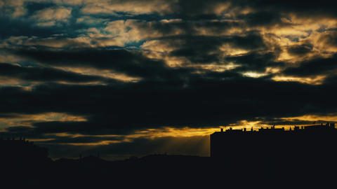 Cloudy Sunset over City, timelapse Footage