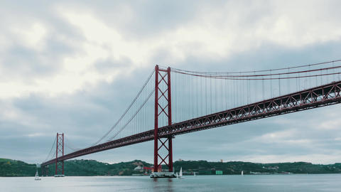 Cloudscape on the 25 de Abril Bridge in Lisbon Footage