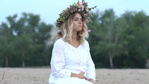 Girl In A Wreath Of Flowers Slow Motion Footage
