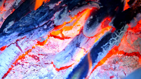 Burning hardwood in detail. Burning woods shiver in hot air and gentle flames fl 画像