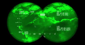Searching the sky with night vision binoculars includes complex reticle version  Footage