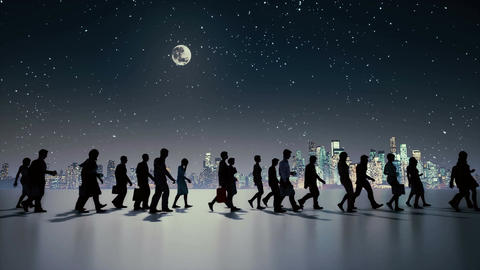 Unrecognizable people silhouette walking at night city Animation
