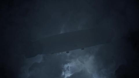 Zeppelin Flying Under Rain and Lightning Storm Footage