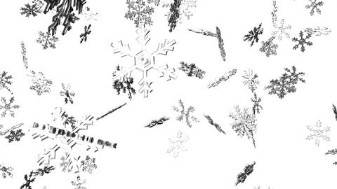 Snow Crystals On White Background Animation