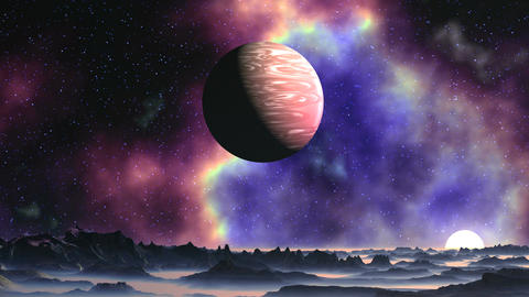 Bright Nebula on Alien Planet Animation