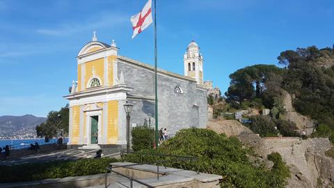 San Giorgio Church in Portofino Italy Footage