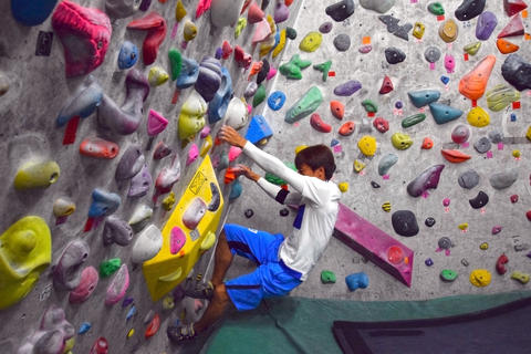 A Japanese man is climbing on practice wall indoors フォト