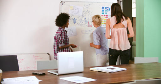 Three Businesswomen Having Brainstorming Meeting In Office Live Action