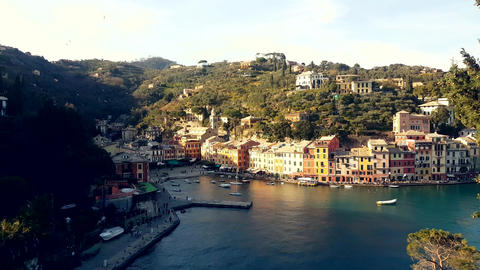 Aerial View of Portofino Italy Footage