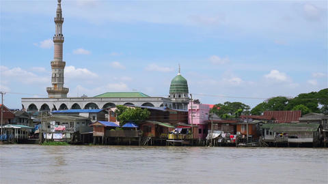 Islam church at Chao Phraya waterfront in Thailand ビデオ