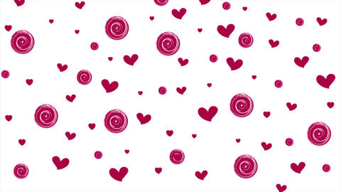 Pink purple hearts and circles on white background Bild