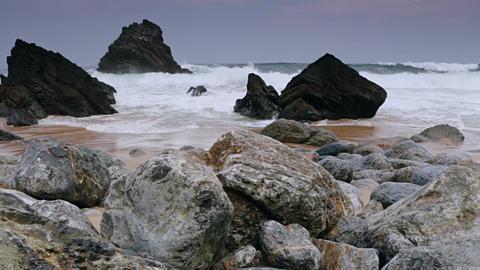 Ocean Surf on the Black Rocks Footage