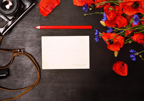 blank greeting card and a red pencil Photo