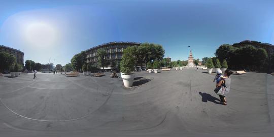 360 VR – Milan Castle, square and via Dante Footage