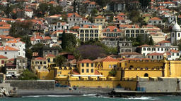 Portugal Madeira island waterfront with Funchal old town, fortress and church Footage
