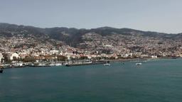 Portugal Madeira island with Funchal city seen from sea side Footage